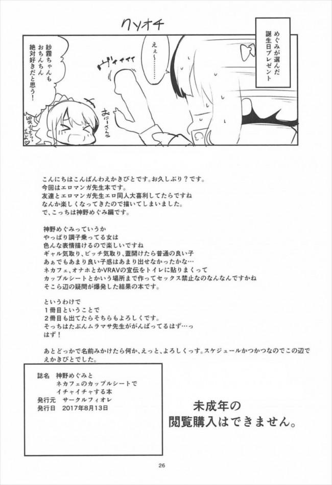 【エロマンガ先生 エロ同人誌・エロ漫画】神野めぐみとネカフェのカップルシートでイチャイチャする本 (25)